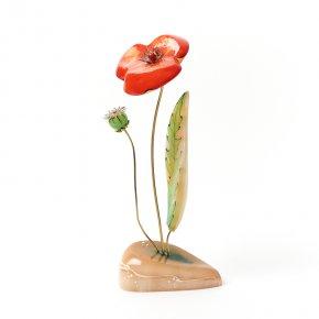 Цветок на подставке селенит Россия 19-20 см