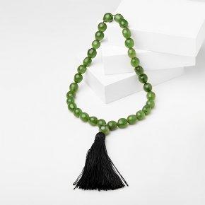 Четки нефрит зеленый Россия (текстиль) 10мм (33 бусины)