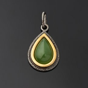 Кулон нефрит зеленый Россия (серебро 925 пр. позолота, рутений) капля