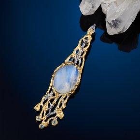 Кулон лунный камень (адуляр) Индия (серебро 925 пр. позолота, родир. сер.)