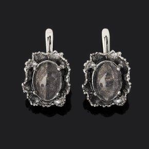 Серьги кварц с турмалином Бразилия (серебро 925 пр. оксидир.)