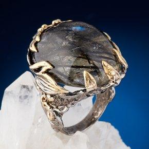 Кольцо кварц с турмалином Бразилия (серебро 925 пр. позолота, родир. сер.) размер 18,5