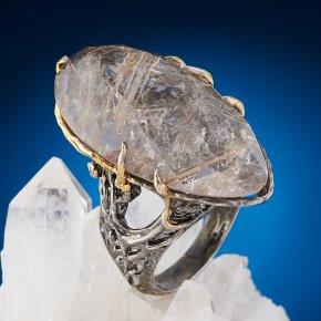 Кольцо рутиловый кварц Бразилия (серебро 925 пр. оксидир., позолота) огранка размер 18,5
