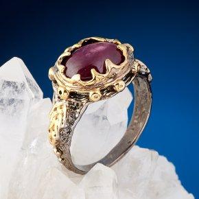 Кольцо корунд рубиновый звёздчатый Нигерия (серебро 925 пр. позолота, родир. сер.) размер 18