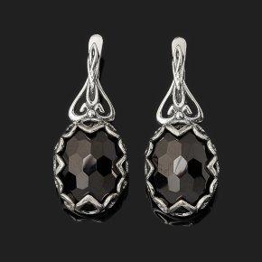 Серьги шпинель черная Шри Ланка (серебро 925 пр. оксидир.) огранка