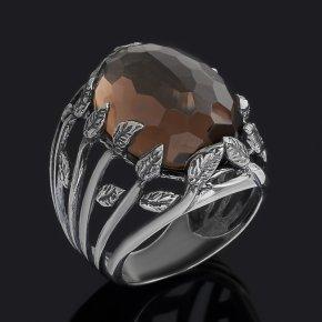 Кольцо раухтопаз Бразилия (серебро 925 пр. оксидир.) огранка размер 18,5