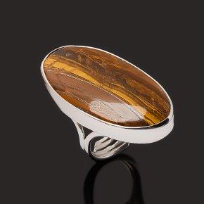 Кольцо тигровый глаз ЮАР (серебро 925 пр. родир. бел.) размер 17 (регулируемый)