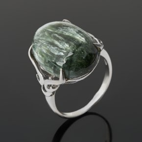 Кольцо клинохлор (серафинит) Россия (серебро 925 пр. родир. бел.) размер 18