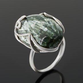 Кольцо клинохлор (серафинит) Россия (серебро 925 пр. родир. бел.) размер 18,5