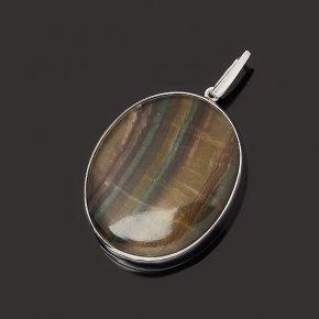 Кулон флюорит (серебро 925 пр. родир. бел.) овал