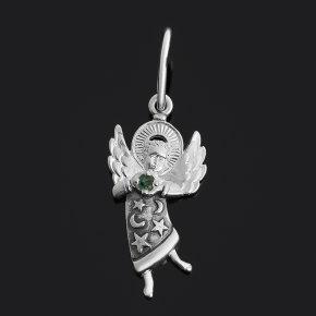 Кулон изумруд Колумбия (серебро 925 пр. оксидир.) Ангел-хранитель огранка