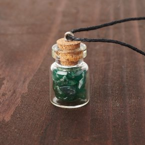 Кулон авантюрин зеленый Зимбабве (биж. сплав, сталь хир., стекло) бутылочка 2,5 см