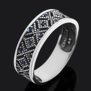 Кольцо сапфир Индия (серебро 925 пр. оксидир.) огранка Спаси и сохрани размер 18,5