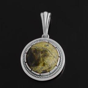 Кулон змеевик Россия (серебро 925 пр. оксидир.)