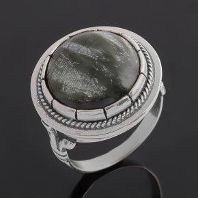 Кольцо клинохлор (серафинит) Россия (серебро 925 пр. оксидир.) размер 17