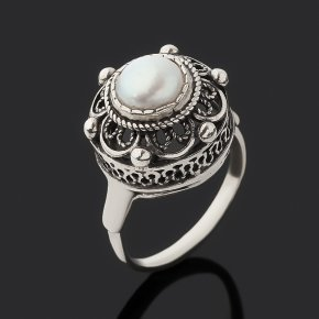 Кольцо жемчуг белый Гонконг (серебро 925 пр. оксидир.) размер 16,5