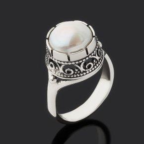 Кольцо жемчуг белый Гонконг (серебро 925 пр. оксидир.) размер 17
