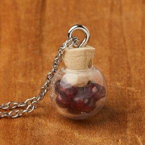 Кулон гранат альмандин Индия (биж. сплав, сталь хир., стекло) бутылочка 1,5см