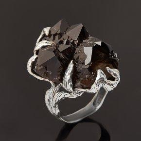 Кольцо морион Россия (серебро 925 пр. оксидир.) размер 18,5