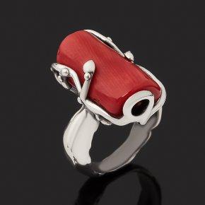 Кольцо коралл красный Индонезия (серебро 925 пр. оксидир.) размер 17