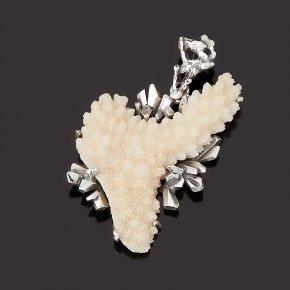 Кулон коралл белый Индонезия (серебро 925 пр. оксидир.)