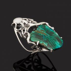Кольцо хризоколла (дублет) Россия (серебро 925 пр. оксидир.) размер 17,5