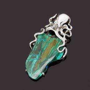 Кулон хризоколла (дублет) Россия (серебро 925 пр. оксидир.)