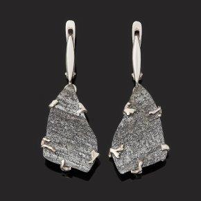 Серьги авантюрин черный (дублет) Россия (серебро 925 пр.)