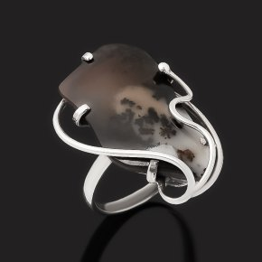 Кольцо агат пейзажный Казахстан (серебро 925 пр. оксидир.) размер 19