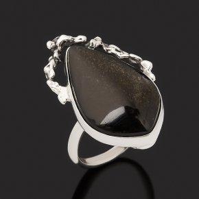 Кольцо обсидиан золотистый Бразилия (серебро 925 пр. оксидир.) размер 17