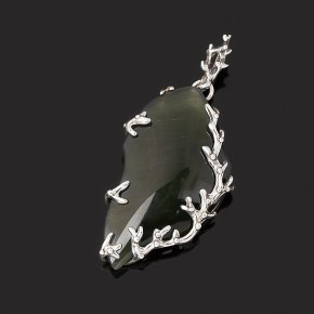Кулон кошачий глаз (кварцевый) Россия (серебро 925 пр. оксидир.)
