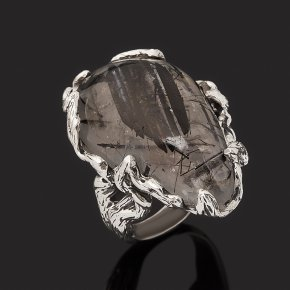 Кольцо кварц с турмалином Бразилия (серебро 925 пр. оксидир.) размер 17,5