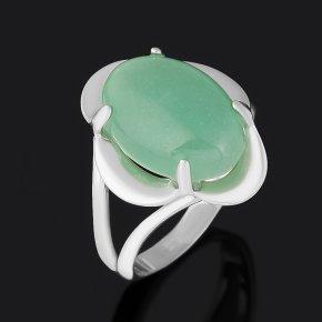 Кольцо авантюрин зеленый Индия (серебро 925 пр. родир. бел.) размер 17