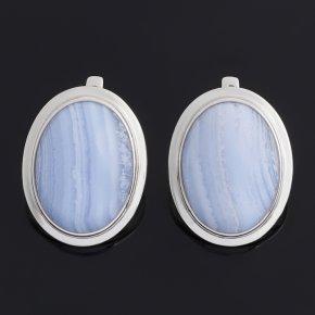 Серьги агат голубой Намибия (серебро 925 пр. родир. бел.)
