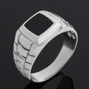 Кольцо агат черный Бразилия (серебро 925 пр. родир. бел.) размер 22