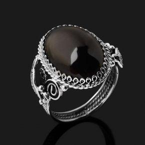 Кольцо обсидиан прозрачный Армения (нейзильбер) размер 18,5