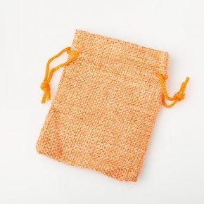 Подарочная упаковка (текстиль) универсальная (мешочек плоский) (оранжевый) 90х70мм