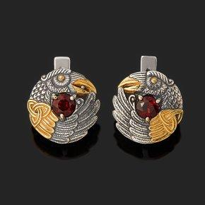 Серьги гранат альмандин Индия (серебро 925 пр. оксидир., позолота) огранка