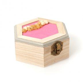 Шкатулка для хранения (биж. сплав, дерево) камней/украшений (бежевый) 120х105х50 мм