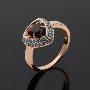 Кольцо гранат альмандин Индия (серебро 925 пр. позолота, родир. бел.) огранка размер 17,5