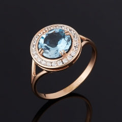 Кольцо топаз голубой Бразилия огранка (серебро 925 пр. позолота) размер 16