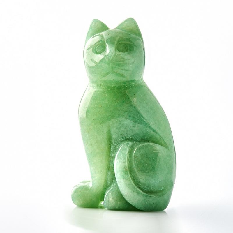 Котик авантюрин зеленый  5 см