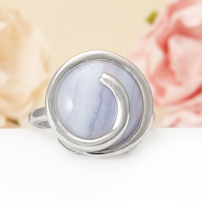 Кольцо агат голубой  (серебро 925 пр.)  размер 19,5