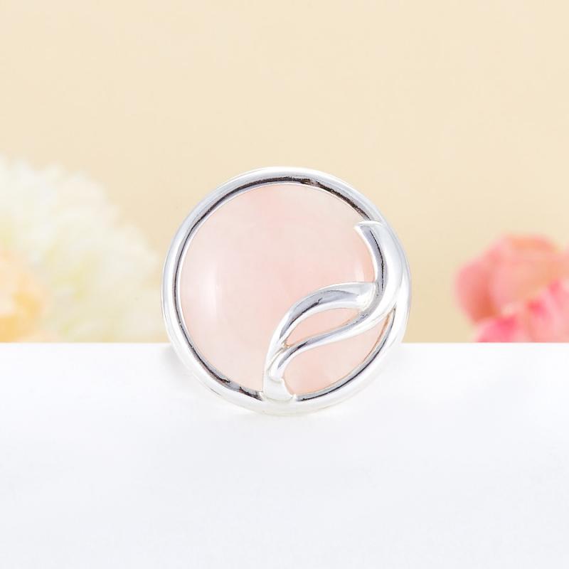 Кольцо розовый кварц  (серебро 925 пр.)  размер 20