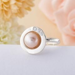Кольцо жемчуг розовый Гонконг (серебро 925 пр.)  размер 19,5