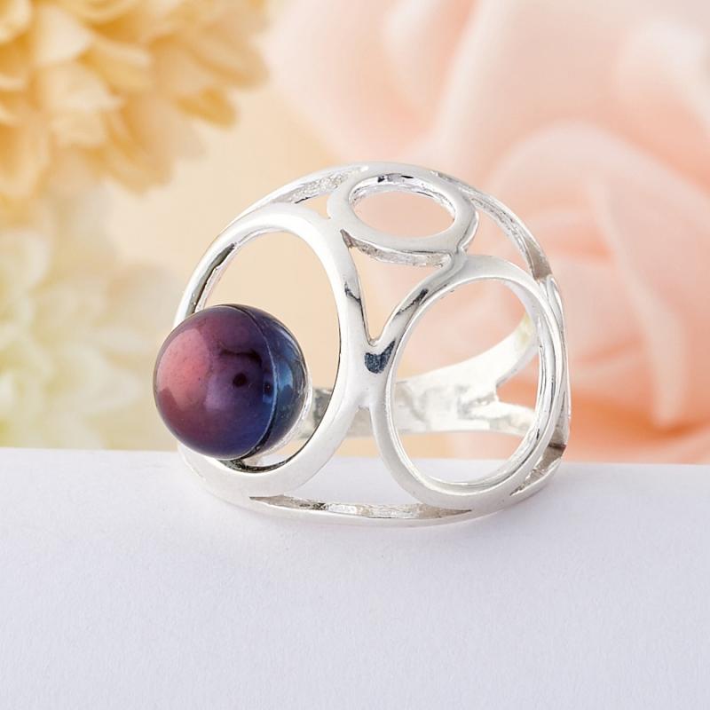 Кольцо жемчуг черный  (серебро 925 пр.)  размер 16,5
