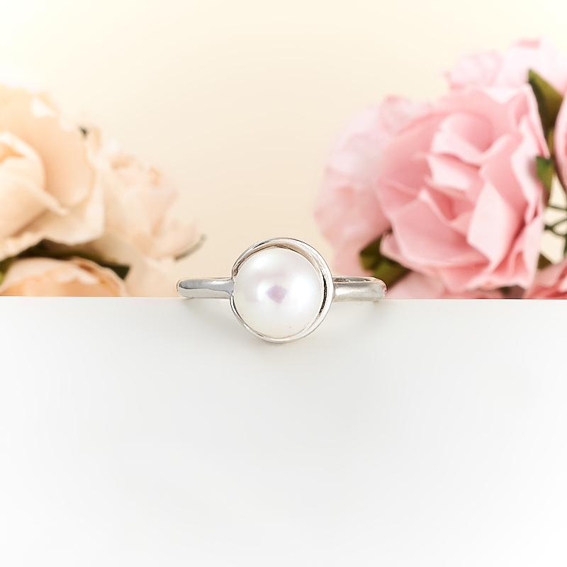 Кольцо жемчуг белый  (серебро 925 пр.)  размер 16,5