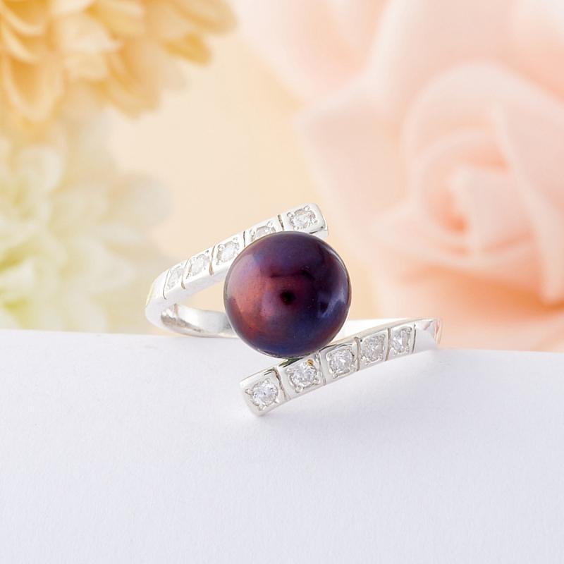 Кольцо жемчуг черный  (серебро 925 пр.)  размер 19,5