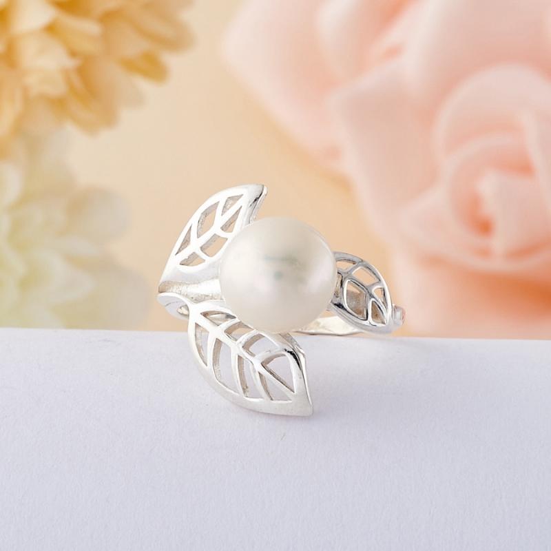 Кольцо жемчуг белый (серебро 925 пр.) размер 17 брошь жемчуг белый серебро 925 пр