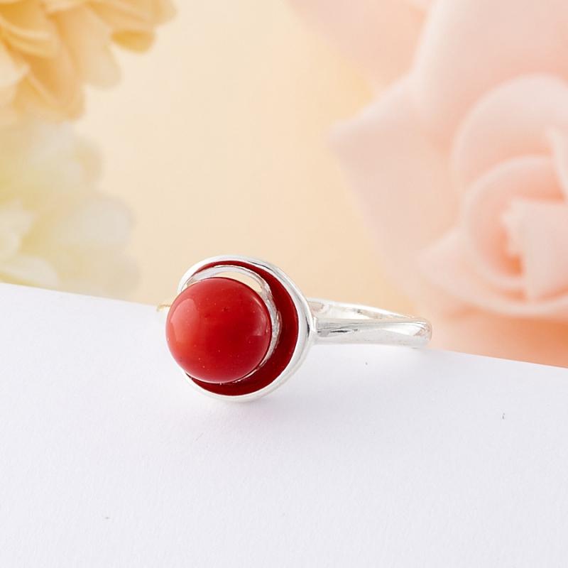 Кольцо коралл красный  (серебро 925 пр.)  размер 16